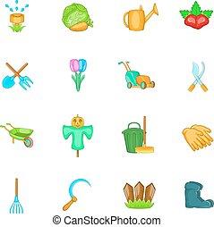 ensemble, style, icônes, dessin animé, jardin