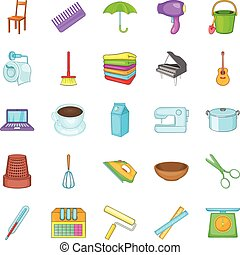 ensemble, style, icônes, dessin animé, ménage