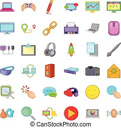 ensemble, style, informatique, dessin animé, icônes
