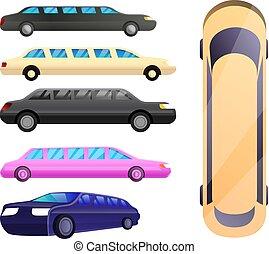 ensemble, style, limousine, dessin animé, icônes