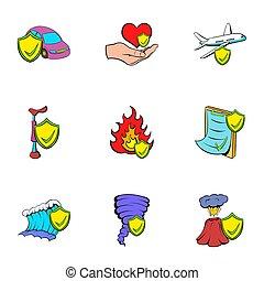 ensemble, style, mésaventure, dessin animé, icônes