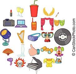 ensemble, style, orchestre, dessin animé, icônes