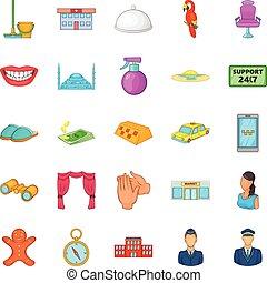 ensemble, style, présence, dessin animé, icônes
