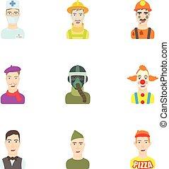 ensemble, style, profession, dessin animé, icônes