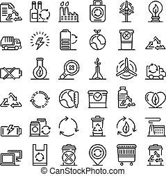 ensemble, style, recyclage, contour, icônes