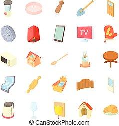 ensemble, style, rusticité, dessin animé, icônes