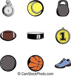 ensemble, style, sport, dessin animé, icônes