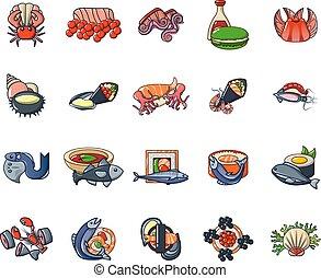 ensemble, style, sushi, dessin animé, icônes