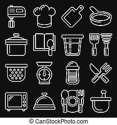 ensemble, style, vecteur, cuisine, icônes, arrière-plan., ligne, cuisine, noir