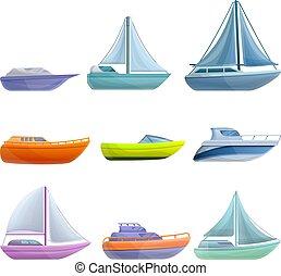 ensemble, style, yacht, dessin animé, icônes