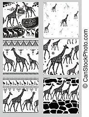 ensemble, stylisé, girafes, seamless, motifs