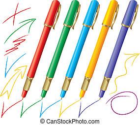 ensemble, stylos, coloré