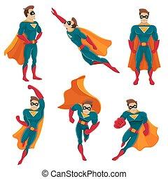 ensemble, superhero, actions, icône