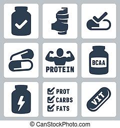 ensemble, suppléments, icônes, isolé, vecteur, sport