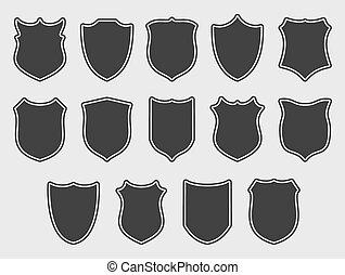 ensemble, sur, gris, grand, fond, boucliers