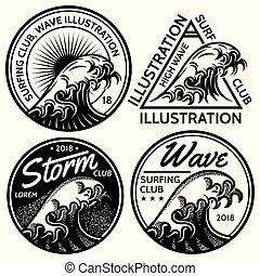 ensemble, surfer, motifs, thème, vecteur, conception, eau, mer, océan