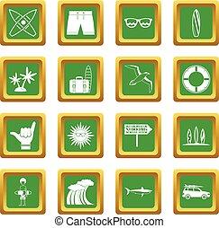 ensemble, surfer, vert, icônes