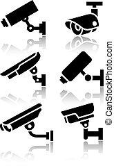 ensemble, surveillance, grand, vidéo, nouveau, autocollants