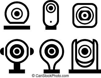 ensemble, surveillance, symboles, vecteur, noir, nouveau, vidéo
