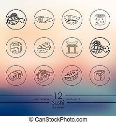 ensemble, sushi, icônes