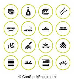 ensemble, sushi, rond, icônes