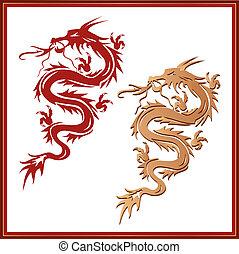 ensemble, symbole, -, dragons, culture, oriental