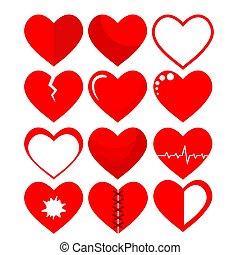 ensemble, symbole, illustration, vecteur, blanc, cœurs, rouges, stockage