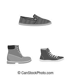ensemble, symbole, objet, web., isolé, symbole., chaussures, pied, chaussure, stockage