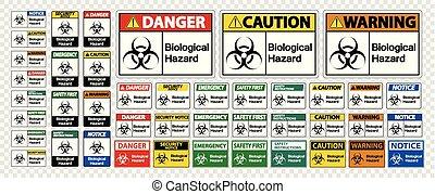 ensemble, symbole, signe danger, fond, biologique, transparent