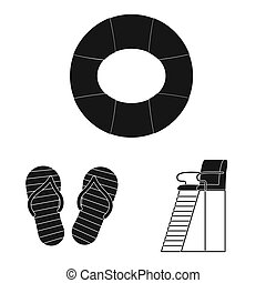 ensemble, symbole, web., illustration, bitmap, activité, natation, logo., piscine, stockage