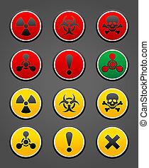 ensemble, symboles, danger, sécurité, signe