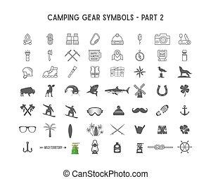 ensemble, symboles, extérieur, différent, silhouette, camping, icônes, engrenage, conceptions, isolé, logotypes, 2, posters., créer, usage, infographics, partie, aventure, écusson, formes, vecteur, white.