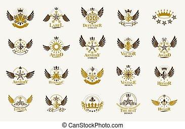 ensemble, symboles, grandes affaires, style, vecteur, bras, antiquité, famille, manteau, classique, récompenses, logos., vendange, conception, couronnes, collection, éléments, ou, étoiles, insignes, héraldique