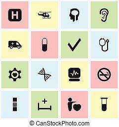 ensemble, symboles, infographic, clinique, aviation, design., hôpital, être, utilisé, mobile, editable, toile, inclut, icons., tel, more., récipient, 16, monde médical, analyse, ui, boîte