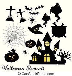 ensemble, symbols., halloween, éléments