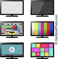 ensemble télé, isolé, intelligent
