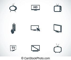 ensemble télé, noir, vecteur, icônes