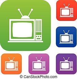 ensemble télé, retro, collection