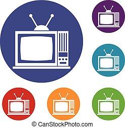 ensemble télé, retro, icônes
