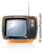 ensemble télé, retro, vecteur