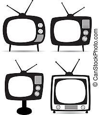 ensemble télé, vecteur, retro