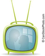 ensemble télé, vert, retro