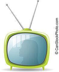 ensemble télé, vert, retro, vecteur