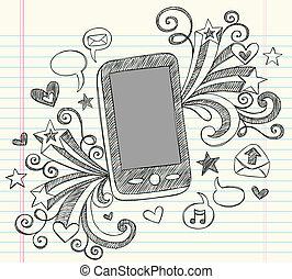 ensemble, téléphone portable, sketchy, doodles, pda