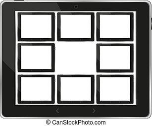 ensemble, tablette, écran, pc, vecteur, noir, blanc