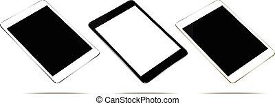 ensemble, tablette, couleur, haut, isolé, 3, vecteur, conception, blanc, railler