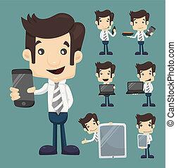 ensemble, tablette, exposition, téléphone, caractères, homme affaires, poses, intelligent