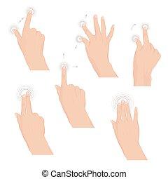 ensemble, tablette, gestes, multitouch, mains, ou, ...