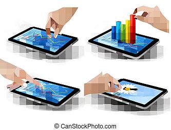 ensemble, tablette, graphique, écran, vector., main.