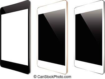 ensemble, tablette, mockup, isolé, collection, vecteur, conception, blanc